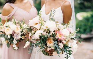 Hand-Tied Peony, Eucalyptus and Garden Rose Bouquet