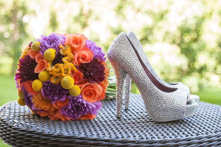 Colorful Bouquet and Silver Rhinestone Shoes