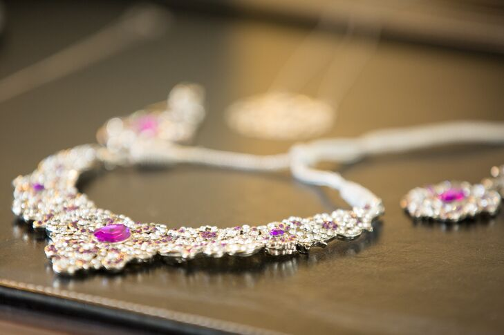 Silver Wedding Jewelry with Purple Stones