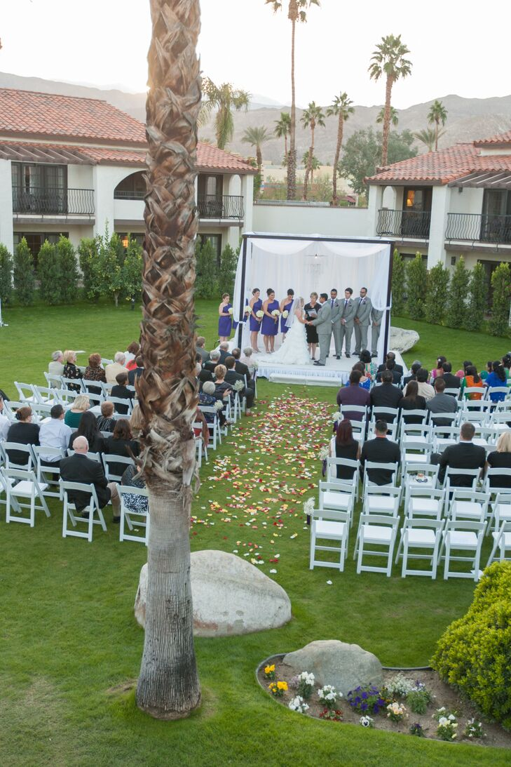 """""""We had our wedding and reception at Rancho Las Palmas Resort and Spa in Rancho Mirage, California,"""" says Samantha. """"We chose this location because it was in the city where we met and we wanted a location that would keep our wedding small and intimate. The only people that lived in California were Sammie's grandparents and a few of our college friends."""""""