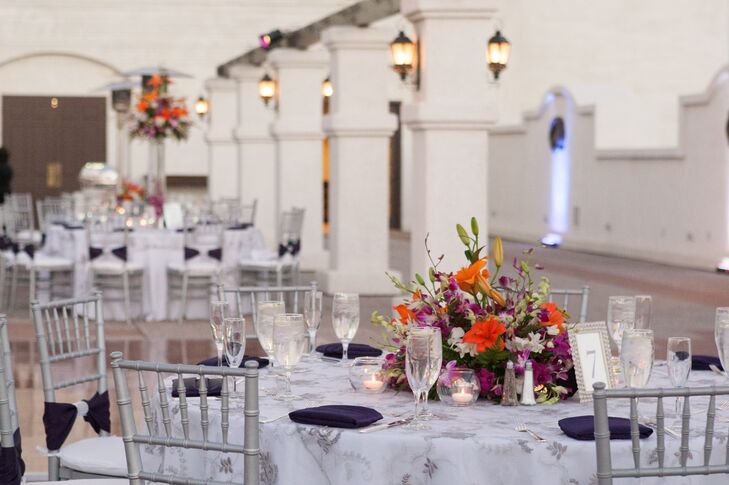 """""""I wanted the wedding to feel classic, elegant, cultural and colorful,"""" says Samantha. """"The color palette I chose was royal purple and silver. When it came to the flowers and décor, I relied a lot the guidance of our amazing wedding planners from Celebrations of Joy and Pinterest. I would show the planners pictures and they made it come to life."""""""