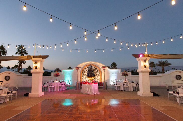 Lights were strung above the dance floor at the rooftop reception.