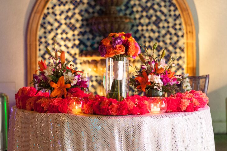 Red, Orange and Purple Sweetheart Table