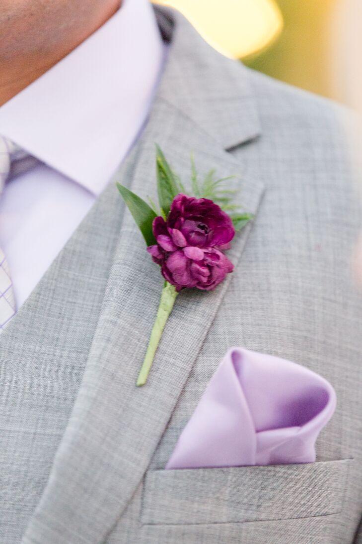 Single Purple Peony with Greens Boutonniere