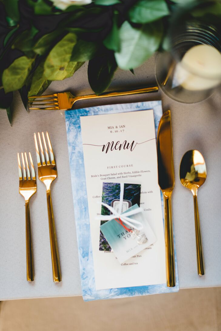 Blue Hand-Dyed Napkins and Gold Flatware