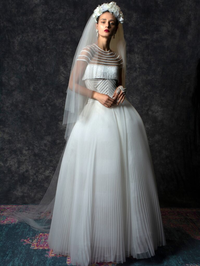 Naeem Khan Spring 2020 Bridal Collection fringed bodice wedding dress with pleated skirt