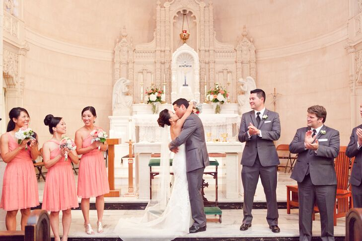 Ceremonial First Kiss as Married Couple