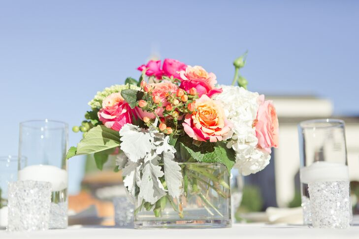 Colorful Flower Centerpiece in Glass Box