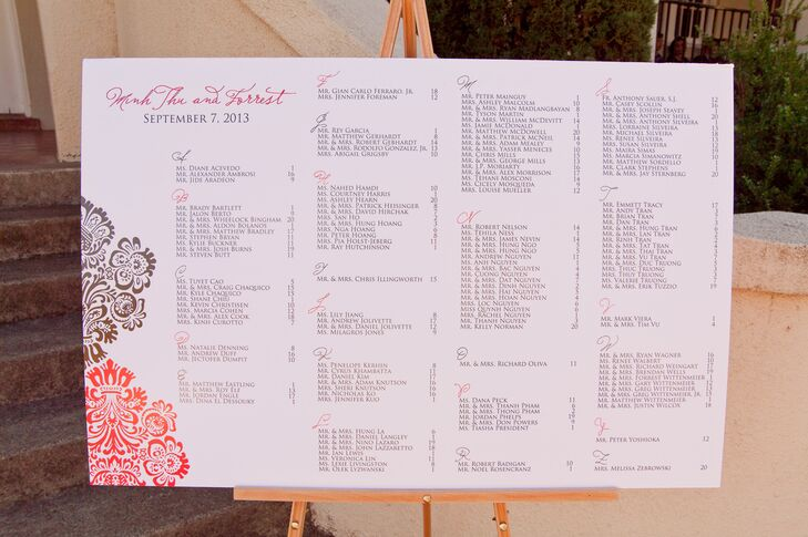 Large White Seating Chart at Reception