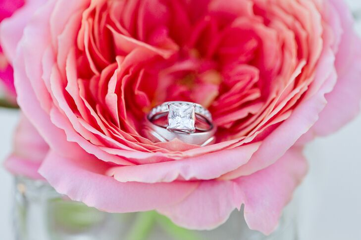 Engagement and Wedding Rings in Coral Rose