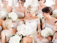one-shoulder biege bridesmaid dresses