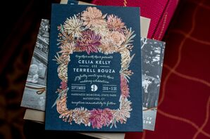 Graphic Navy Invitations with Moody Florals