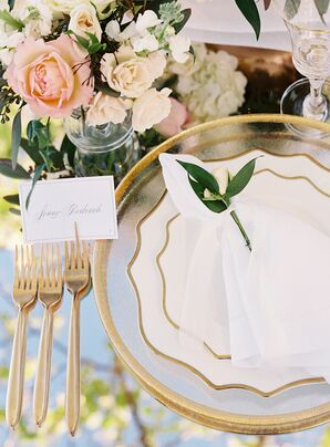White-and-Gold Place Settings for Reception at Carneros Inn in Napa, California