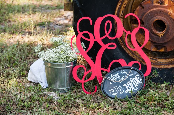 Red Monogram Accent and Chalkboard Sign