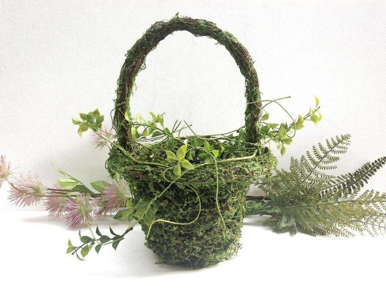 faux moss-covered flower girl basket