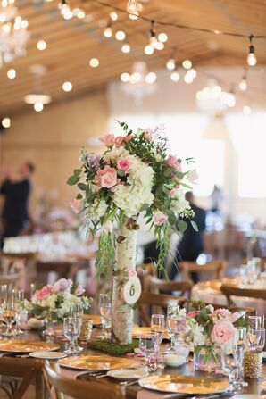 Birch Branch and Hydrangea Centerpiece