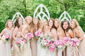 Glamorous Bridesmaids in Sequin Gold Dresses with Pink Bouquets