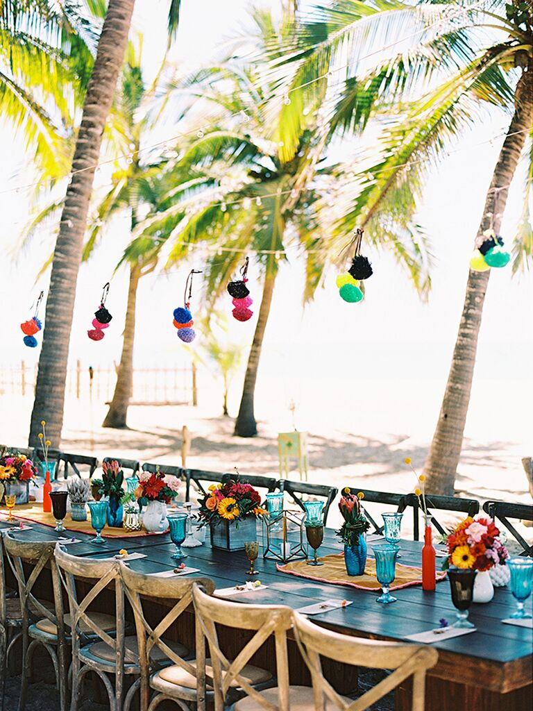 Outdoor destination wedding with colorful lanters