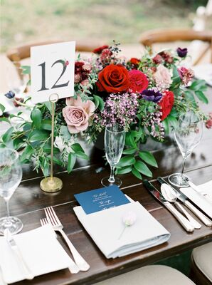 Lush Rose and Scabiosa Centerpieces with Simple Table Numbers