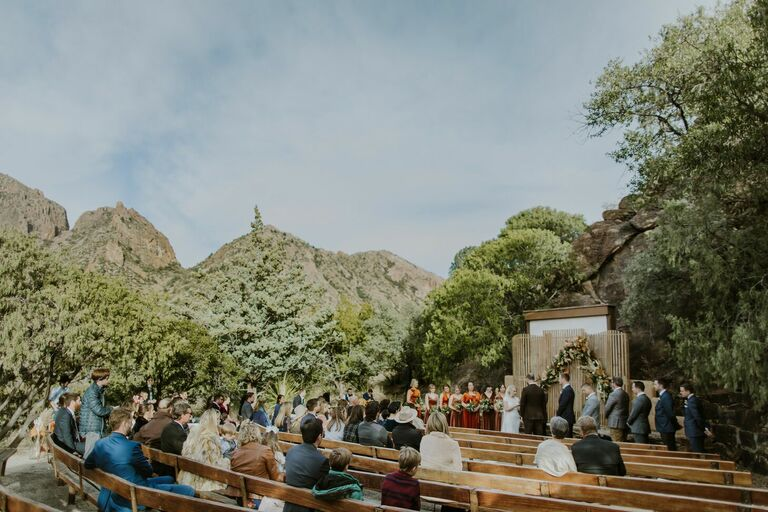 Wedding ceremony in amphitheater in Big Bend National Park