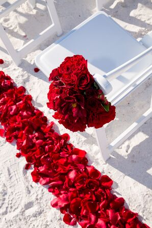 Red Rose Petal Aisle Decorations