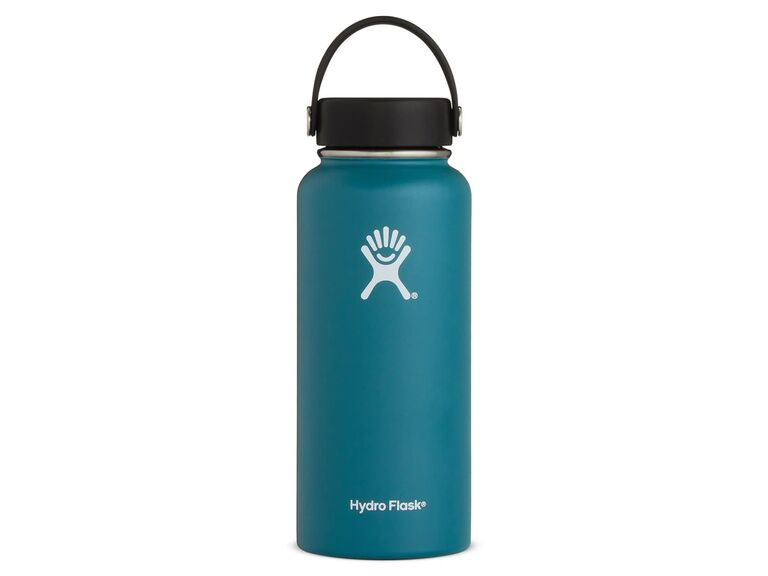 Jade-colored hydro flask water bottle
