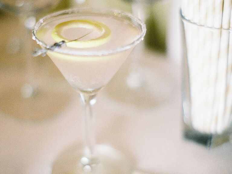 Lavender signature cocktail with lemon garnish
