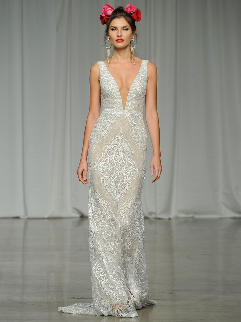 Julie Vino Spring 2019 embroidered lace wedding dress with a plunging neckline
