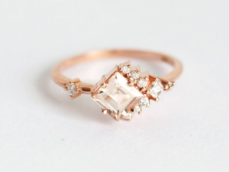 Capucinne princess-cut pink tourmaline ring with diamond cluster in rose gold