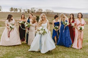 Elegant Bridesmaids Wearing Mismatched Jewel-Toned Dresses