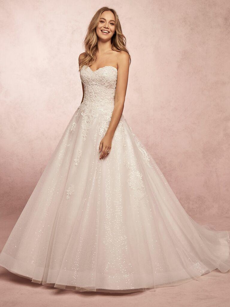 Rebecca Ingram Spring 2019 strapless ball gown wedding dress with glitter