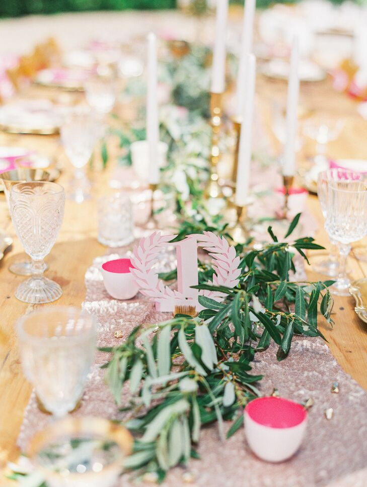Pink Table Number and Green Garland