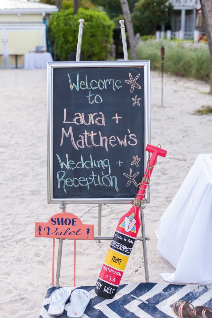 Pink and Blue Chalkboard Wedding Sign