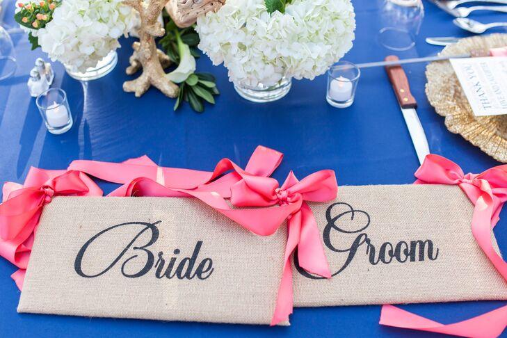 Burlap Wedding-Chair Signs, Pink Ribbon