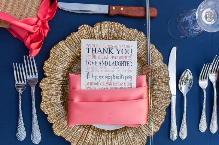 Laura, Matt and Soiree Key West also added a beachy touch to their reception decor. Each place setting was met with a sea-sponge-inspired gold charger as natural centerpieces with coral-inspired candlesticks lined the table.