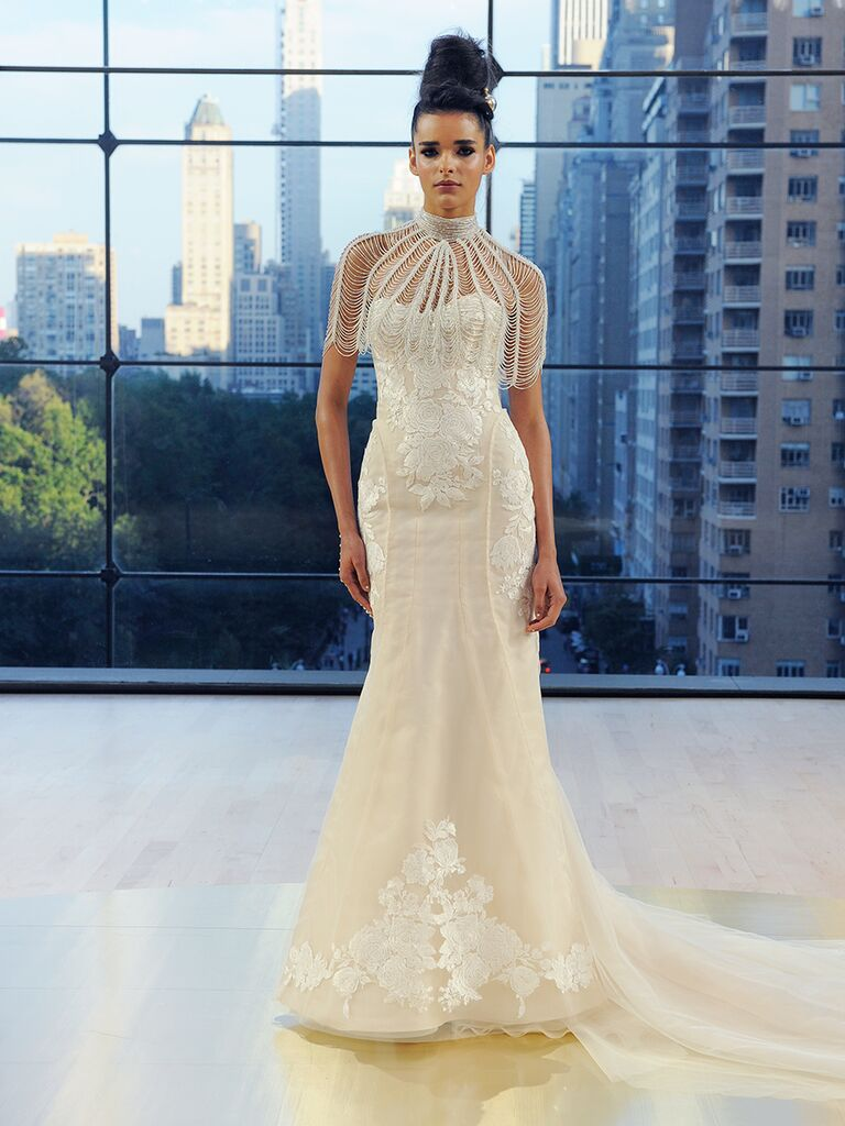 Ines Di Santo Fall 2018 Perry strapless trumpet gown with lace applique