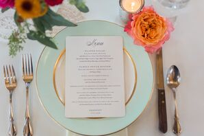 Elegant Mint and Gold Dinnerware