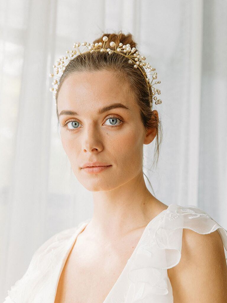 Halo pearl wedding headband