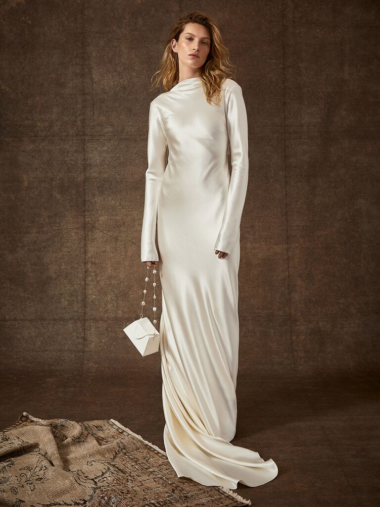 Danielle Frankel Spring 2020 Bridal Collection white satin wedding dress with long sleeves