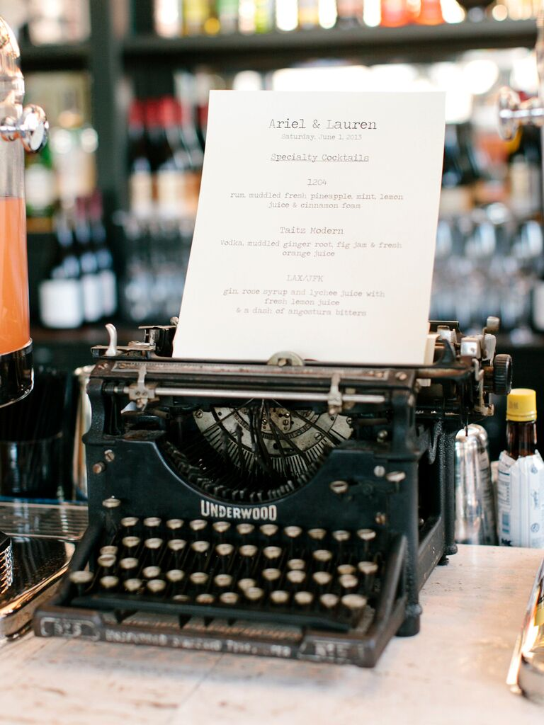 vintage typewriter creative wedding menu idea