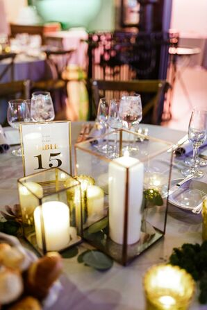 Modern Centerpieces with Candles in Gold Geometric Vases