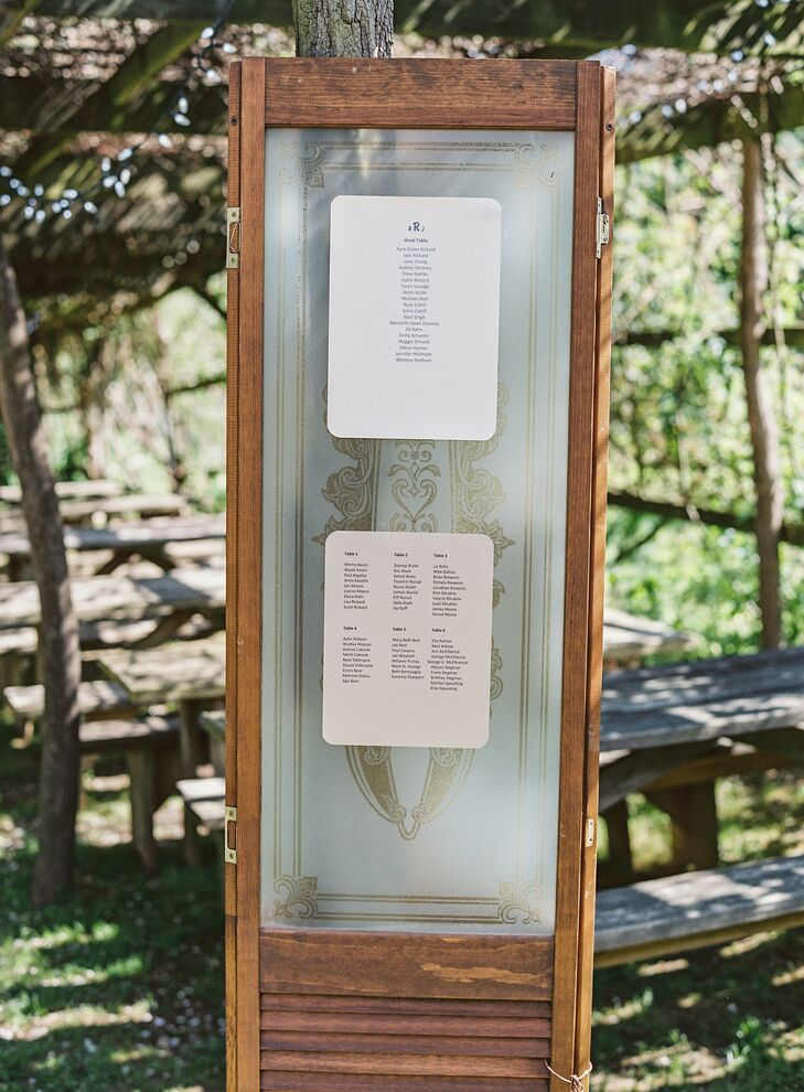 Ayse and Jack's table assignments were posted on an antique door displayed outside of the reception.