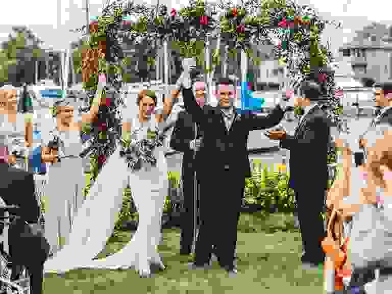 Outdoor pink wedding ceremony