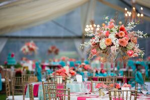Towering Pink Rose, Hibiscus Reception Centerpieces