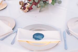 Calligraphy Blue Geode Place Card