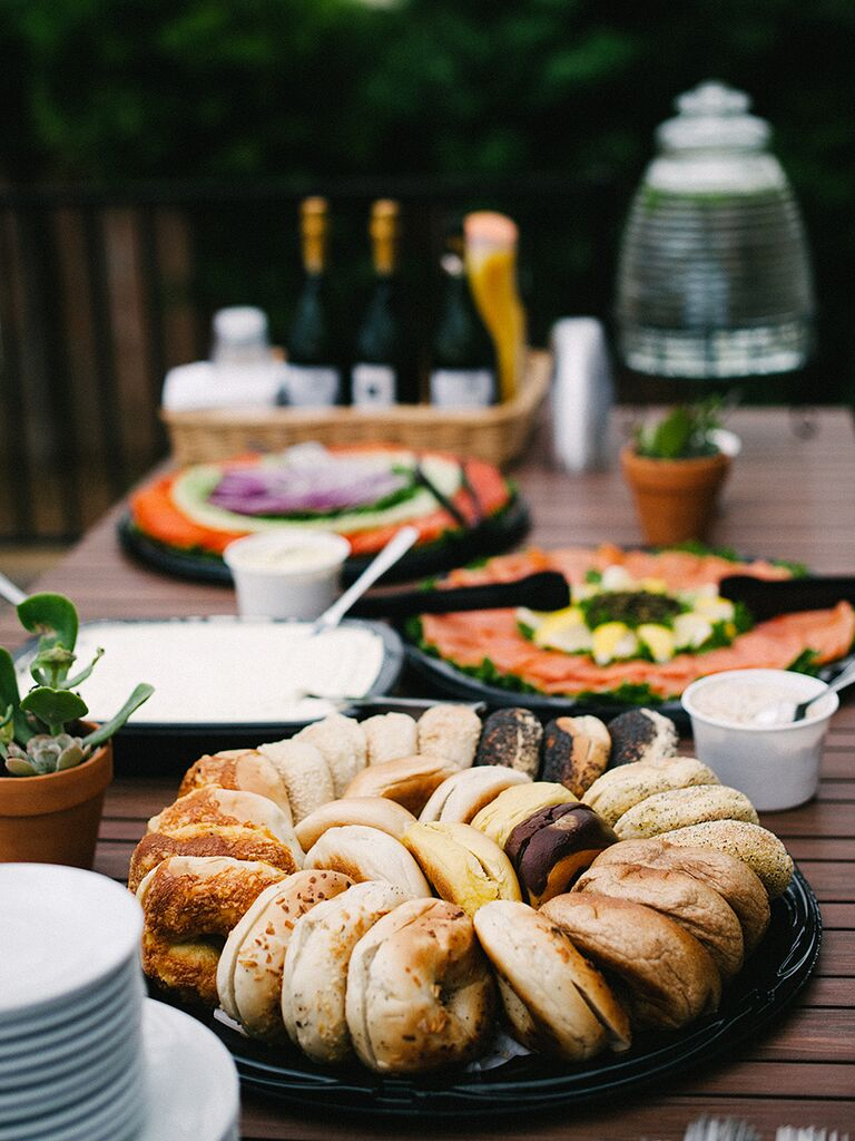 Bagel bar for a wedding brunch idea
