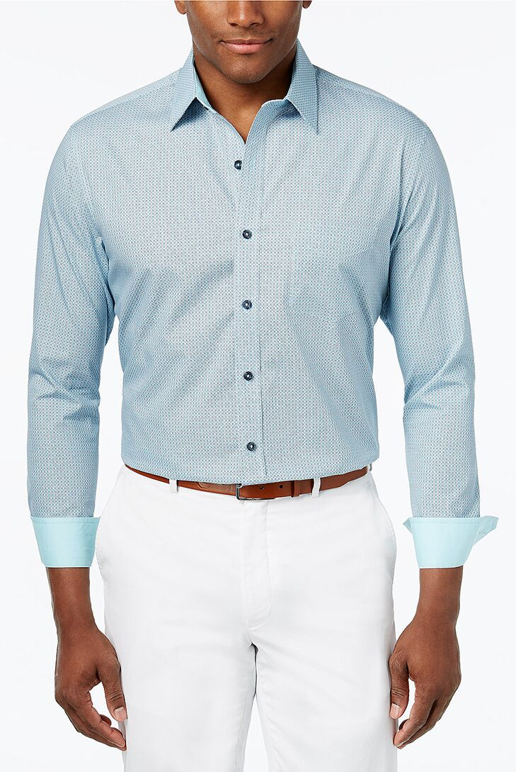 Aqua On Down Shirt Beach Wedding Attire For Men