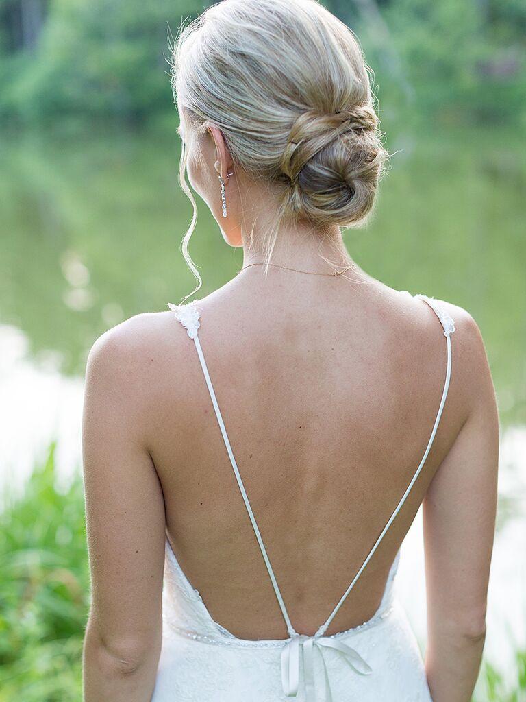 Low ballerina bun wedding hairstyle