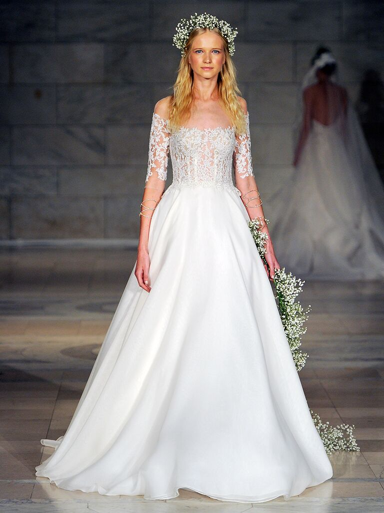 Reem Acra Fall 2018 lace embroidered bodice wedding dress with organza skirt