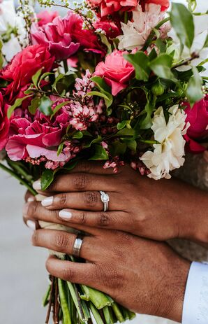 Couple Holding Pink Bouquet at Sandbox in San Diego, California